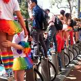 Bay Area Bike Share makes a great perch for watching the parade.