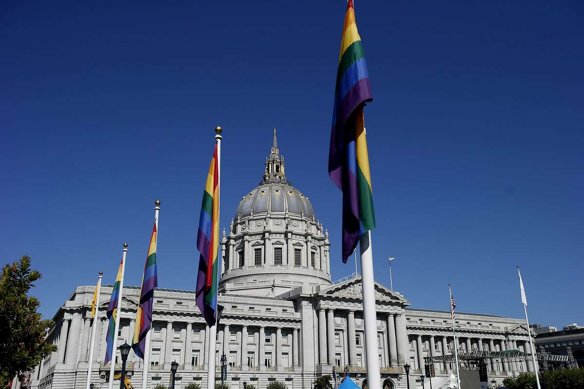"""San Francisco City Hall and the adjacent park on Polk Street was covered with flags. The annual Gay Pride parade on Market Street was held in San Francisco, Calif. Sunday June 29, 2014 and the theme was """"Color Our World With Pride."""""""