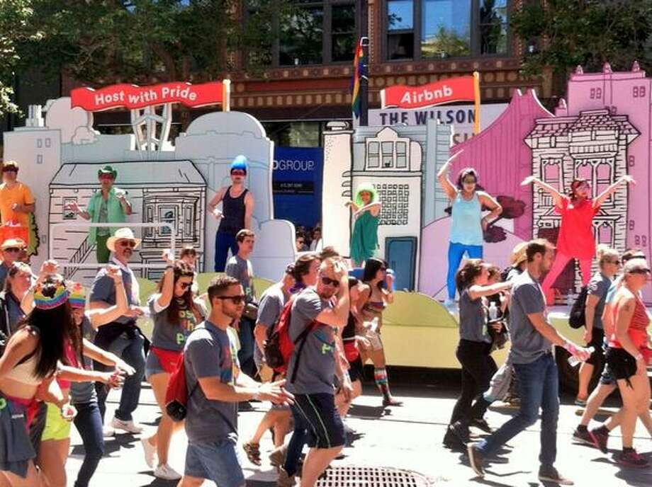 Tech meets #sfpride with @Airbnb float. Doubt we'll see a Parking Monkey presence. Photo: The Chronicle