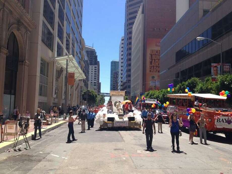 Orange is the New Black for Netflix at S.F. Pride. Float comes with guards in drag and a washing machine.