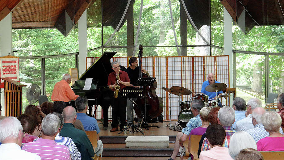 A crowd of more than 100 jazz fans gathered Saturday to listen to a Dave Brubeck tribute concert at the Unitarian Church. Photo: Mike Lauterborn / Westport News