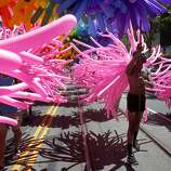 """Balloons add a splash to the annual San Francisco Lesbian, Gay, Bisexual, Transgender Pride Parade from the Embarcadero to the Civic Center. The theme of this year's parade was """"Color Our World With Pride."""""""