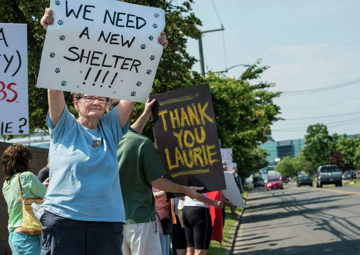 Barbara Patterson holds up a sign during a rally with the Friends of the Stamford Animal Shelter along Magee Avenue, Stamford, CT on Sunday, June 29th, 2014, They were protesting the recent dismissal of the Shelter's director, Laurie Hollywood.