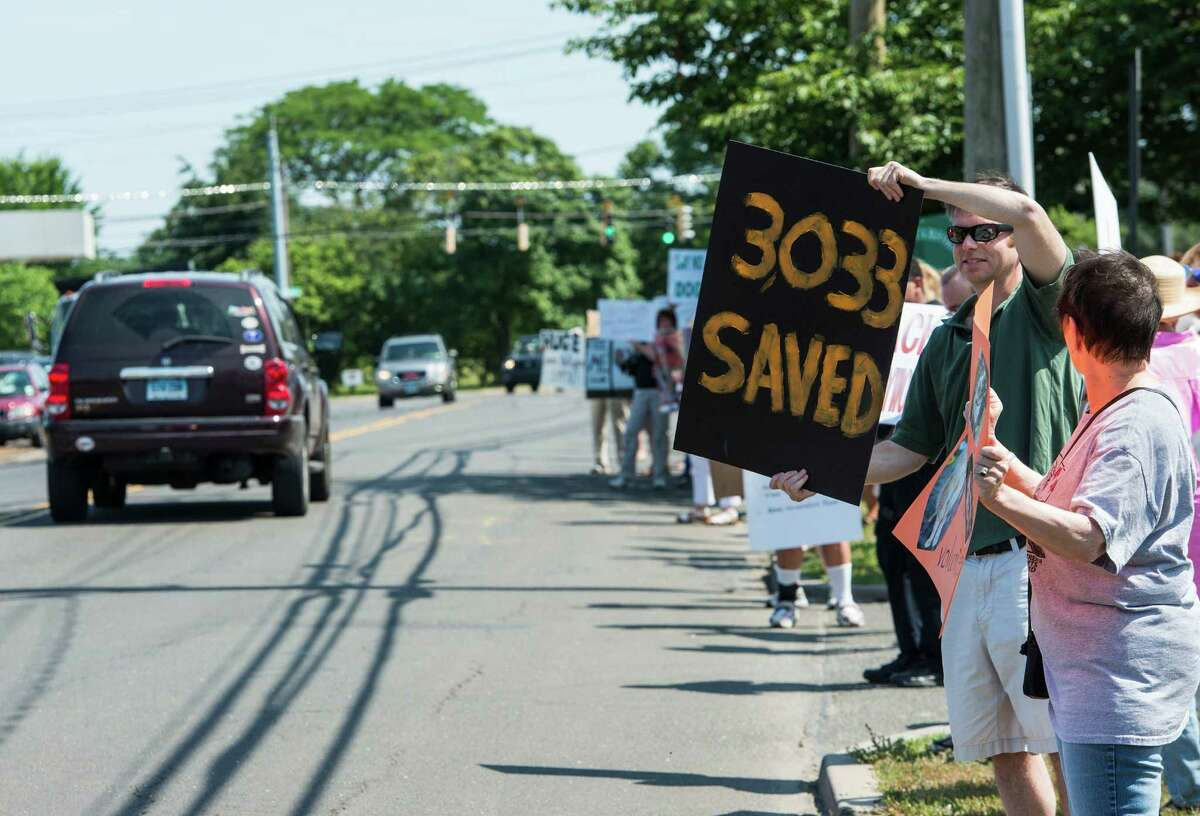 Peter DiSalvo holds up his sign during a rally with the Friends of the Stamford Animal Shelter along Magee Avenue, Stamford, CT on Sunday, June 29th, 2014, They were protesting the recent dismissal of the Shelter's director, Laurie Hollywood.