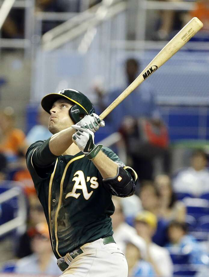 Nate Freiman watches his three-run homer in the sixth in Miami. Photo: Wilfredo Lee, Associated Press