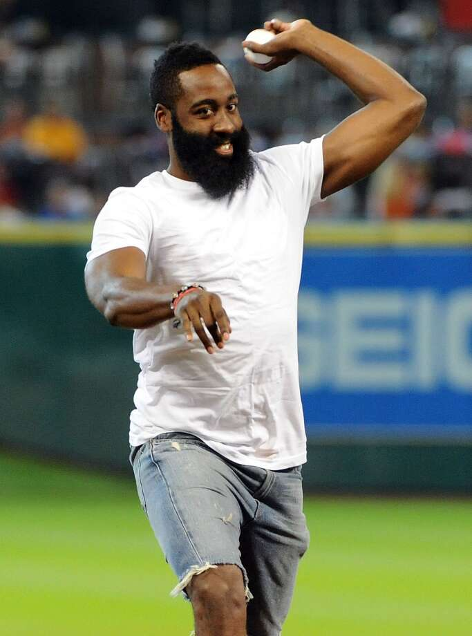 James Harden of the Rockets throws out the first pitch. Photo: Eric Christian Smith, For The Chronicle