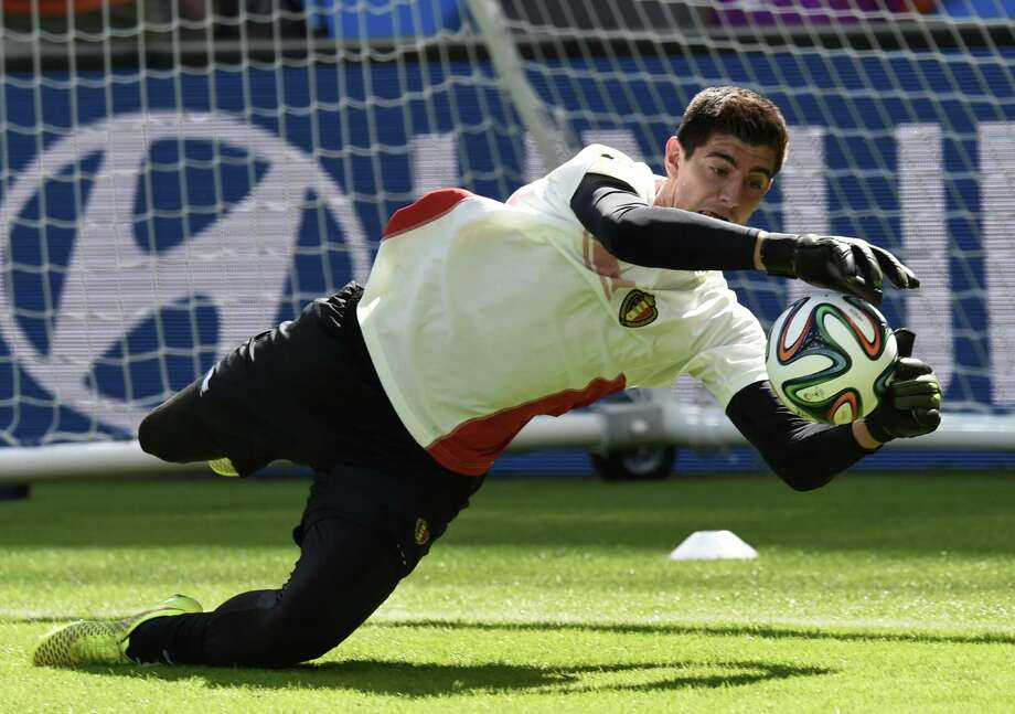 A major challenge for the U.S. will be cracking Belgian goalkeeper Thibaut Courtois, who has allowed one goal (on a penalty kick) in three games. Photo: PHILIPPE DESMAZES, Staff / AFP