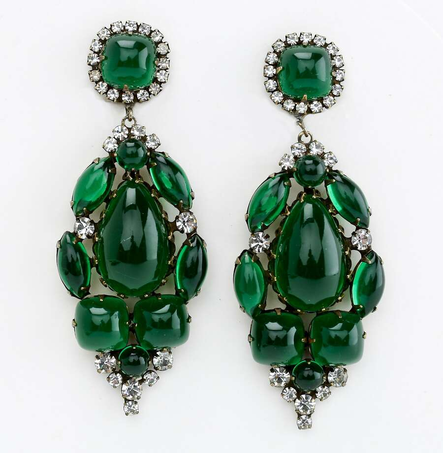 Kenneth Jay Lane earrings date to the 1960s and retail for $875. Photo: Russell Yip, The Chronicle
