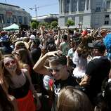 """Hundreds gathered around City Hall to take in the music and the event after the parade. The annual Gay Pride parade on Market Street was held in San Francisco, Calif. Sunday June 29, 2014 and the theme was """"Color Our World With Pride."""""""