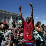 """Many danced to the music at the various stages around City Hall after the parade. The annual Gay Pride parade on Market Street was held in San Francisco, Calif. Sunday June 29, 2014 and the theme was """"Color Our World With Pride."""""""