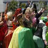 """Performers like the drag queen extravaganza Cockatelia played to an enthusiastic crowd after the parade. The annual Gay Pride parade on Market Street was held in San Francisco, Calif. Sunday June 29, 2014 and the theme was """"Color Our World With Pride."""""""