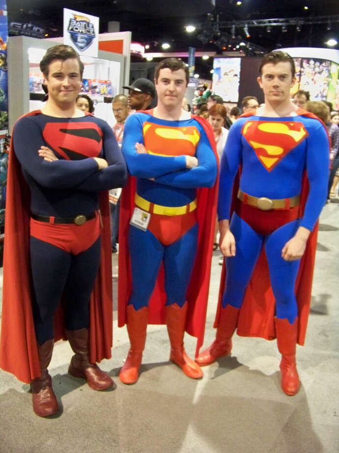 Superman 1,2, & 3These are all awesome. Costumes are well done (and well filled out), the hair in the forehead is present, and they are all good looking.  Photo: Http://collider.com/cosplay-new-york-comic-con-images/