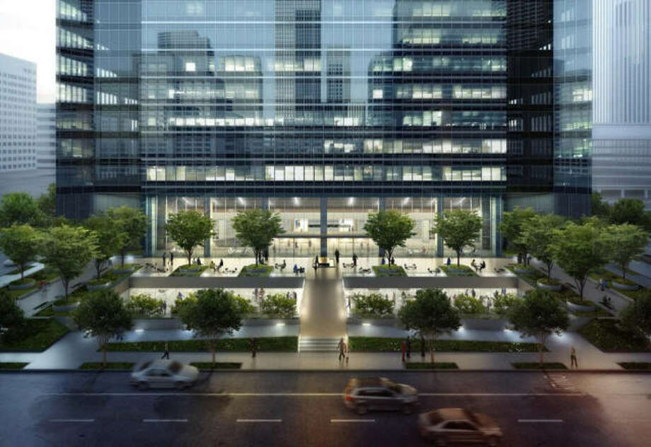 800 Bell: Shorenstien Properties purchased this tower now occupied by Exxon Mobil, but when the oil giant moves to its new campus in The Woodlands next year, the real estate firm plans a major renovation. Photo: Zum 3D