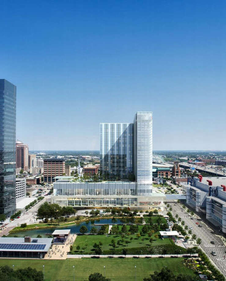 Marriott Marquis: Rida Development is producing the 1,000 room hotel near Discovery Green and the George R. Brown Convention Center. it is slated to open Sept. 2016. Photo: Rida Development Via The Downtown District