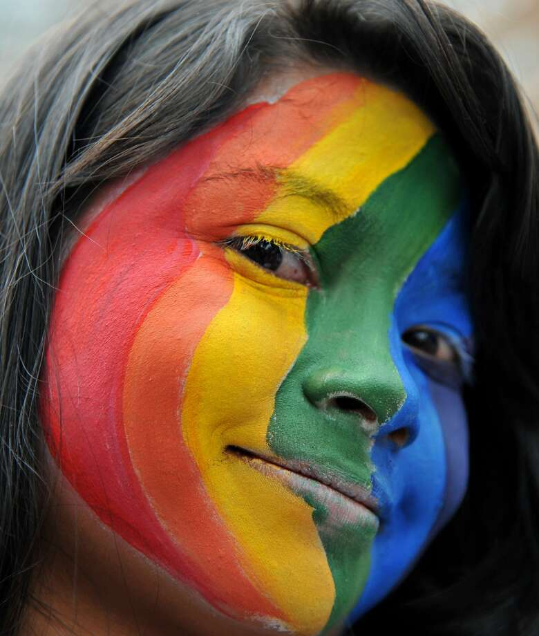A reveler takes part in the Gay Pride Parade in Colombia last week. Photo: Guillermo Legaria, AFP/Getty Images