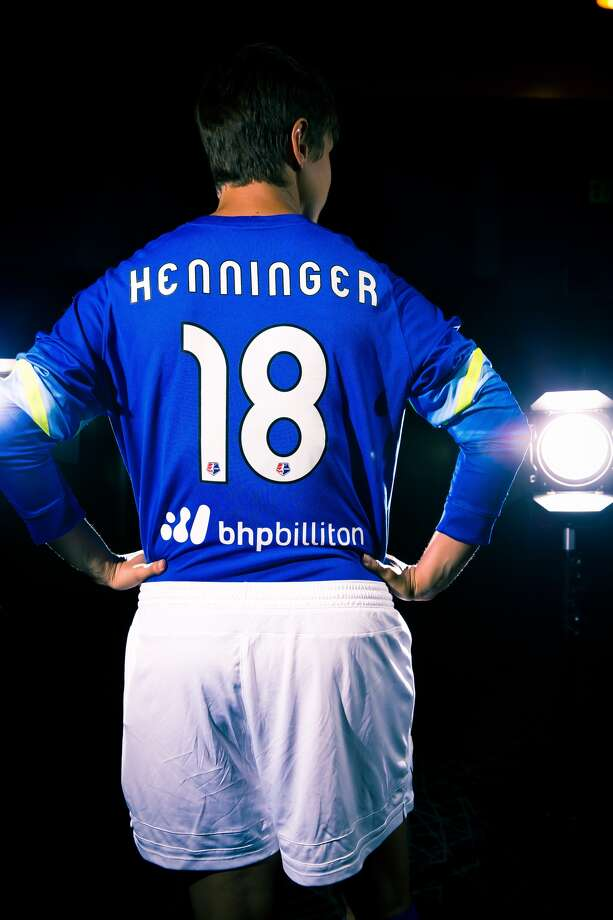Dash goalkeeper Bianca Henninger shows off the team's new partnership with BHP Billiton.(Anthony Vasser/Houston Dynamo)