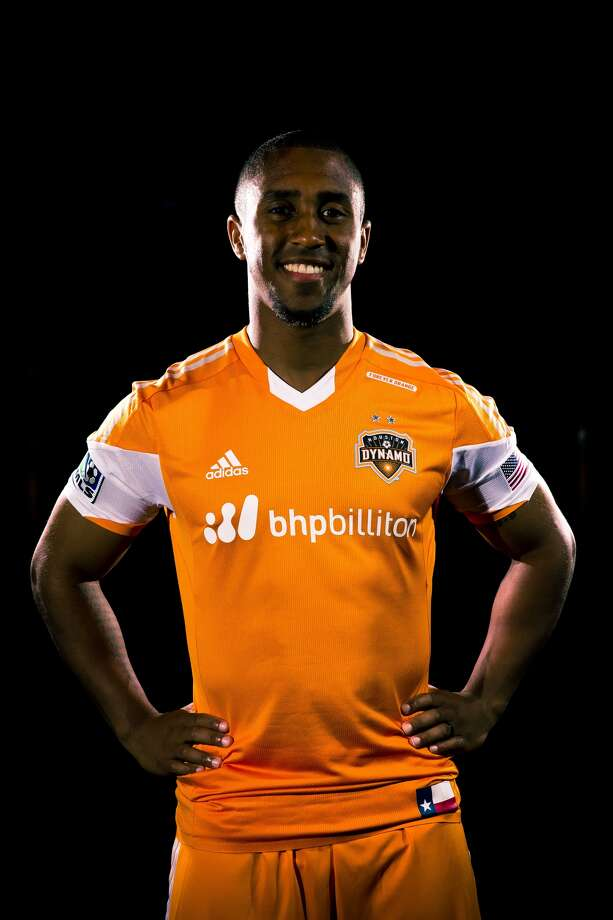 Dynamo defender Corey Ashe shows off the team's new partnership with BHP Billiton.(Anthony Vasser/Houston Dynamo)