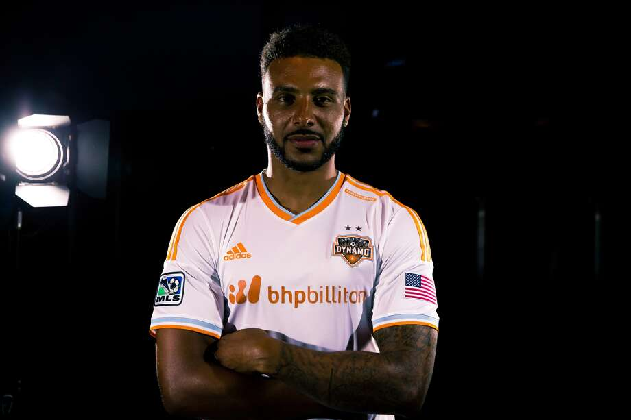 Dynamo forward Giles Barnes shows off the team's new partnership with BHP Billiton.(Anthony Vasser/Houston Dynamo)