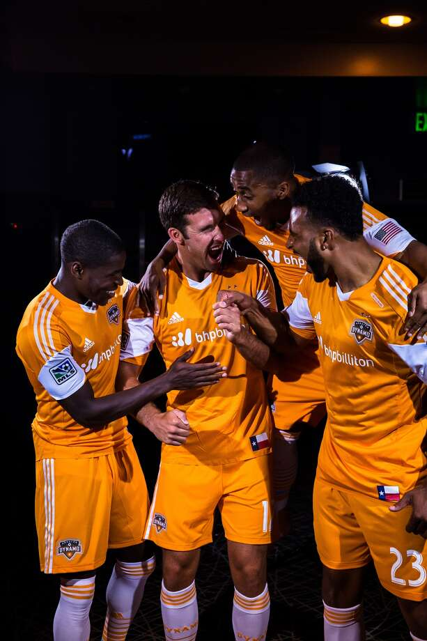 Dynamo players show off the team's new partnership with BHP Billiton.(Anthony Vasser/Houston Dynamo)