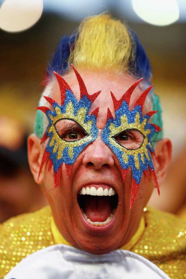RIO DE JANEIRO, BRAZIL - JUNE 28:  A Colombian fan shows his colours ahead of  the 2014 FIFA World Cup Brazil round of 16 match between Colombia and Uruguay at Maracana on June 28, 2014 in Rio de Janeiro, Brazil. Photo: Clive Rose, Getty Images / 2014 Getty Images