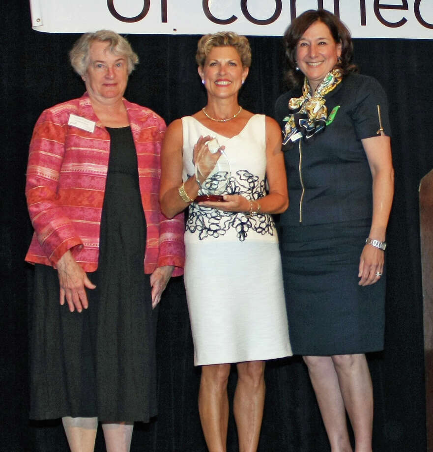 From left, Girl Scouts of Connecticut Board President Caroline Sloat; Managing Director, New England Market Executive, Merrill Lynch Wealth Management, Linda Houston; and Girl Scouts of Connecticut CEO Mary Barneby. Photo: Contributed Photo, Contributed / New Canaan News Contributed