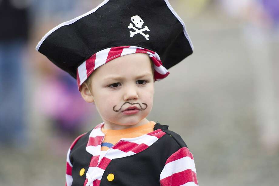 Captain Kid:Though only 2, pirate Benjamin Ferraro already sports a better mustache than Tim Lincecum. (Seafair Pirates Landing in Seattle.) Photo: Maddie Meyer, Associated Press