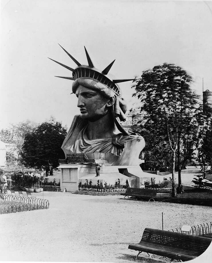 The head of the Statue of Liberty on display in the garden at the Champ de Mars at the World's Fair in Paris to drum up support and contributions for the completion of the great project, 1878. (Photo by FPG/Getty Images) Photo: Getty Images