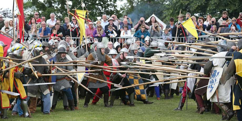 Rebelling against the English yoke:Crowds watch a reenactment of the Battle of Bannockburn on its 700th anniversary in Stirling,   Scotland. In 1314, outnumbered Scots led by Robert the Bruce defeated an English army commanded   by Edward II in the First War of Scottish Independence. Photo: Peter Macdiarmid, Getty Images