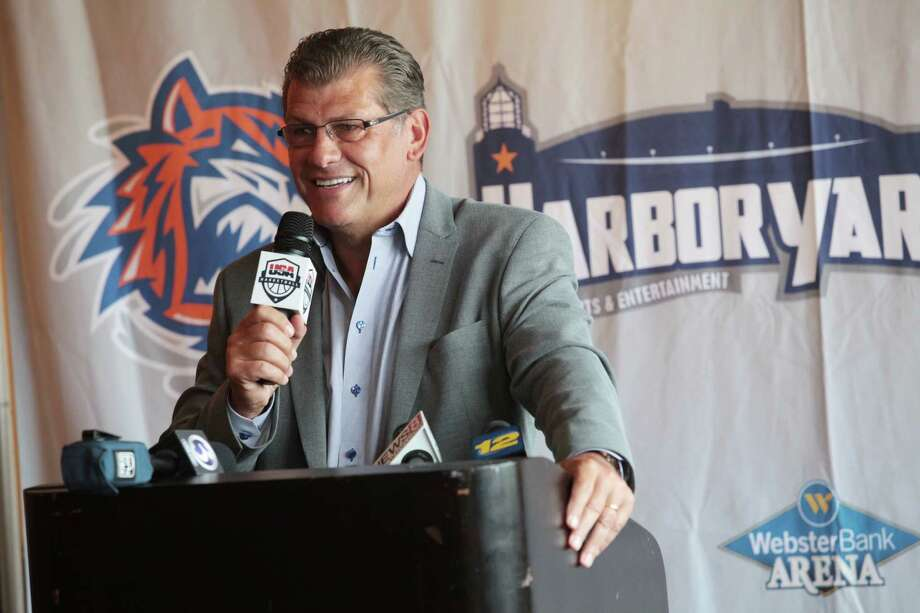Geno Auriemma talks at a press conference to announce that the USA Basketball Women's National Team will play an exhibition game against Canadian Women's National Basketball Team on Sept. 15, 2014 at the Webster Bank Arena in Bridgeport, Conn. Photo: BK Angeletti, B.K. Angeletti / Connecticut Post freelance B.K. Angeletti