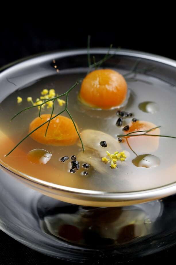 Tomato water gelee with uni, jalapeno oil, and fennel pollen at Lazy Bear. Photo: Sarah Rice, Special To The Chronicle