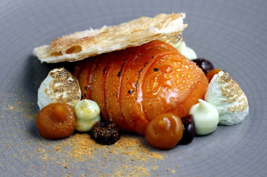 Apricot with whipped lemon verbenaand  stone fruit juices at Lazy Bear. Photo: Sarah Rice, Special To The Chronicle