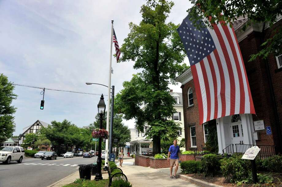 A view of Main Street in Ridgefield, Conn., Monday, June 30, 2014. Town Hall is on the right. Photo: Carol Kaliff / The News-Times