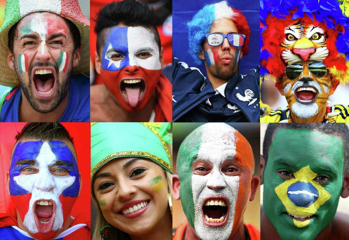 Fans bring their game faces to Brazil to cheer on their teams in the 2014 World Cup.