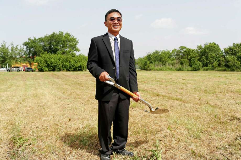 John Vuong stands where he will break ground on his 12th supermarket  June 30, 2014 in Houston at the corner of Corder and Scott. The area is considered a food desert, with very few shopping options for fresh food, local residents whom are often without reliable transportation, must travel long distances for healthy food choices.