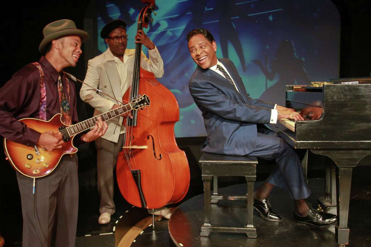 """Derrick Brent II, from left, Jason Carmichael and Dennis W. Spears star in the Ensemble Theatre's production of """"I Wish You Love."""""""