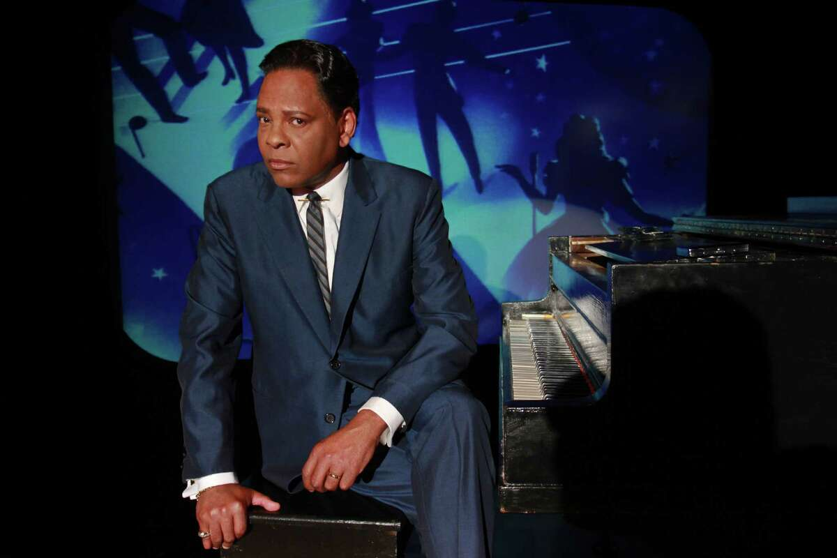"""(For the Chronicle/Gary Fountain June 18, 2014) Dennis Spears as Nat King Cole in the Ensemble Theatre's production of """"I Wish You Love,"""" about the famed singer, and set in 1957 when he became the first African-American to star in his own TV music/variety series."""