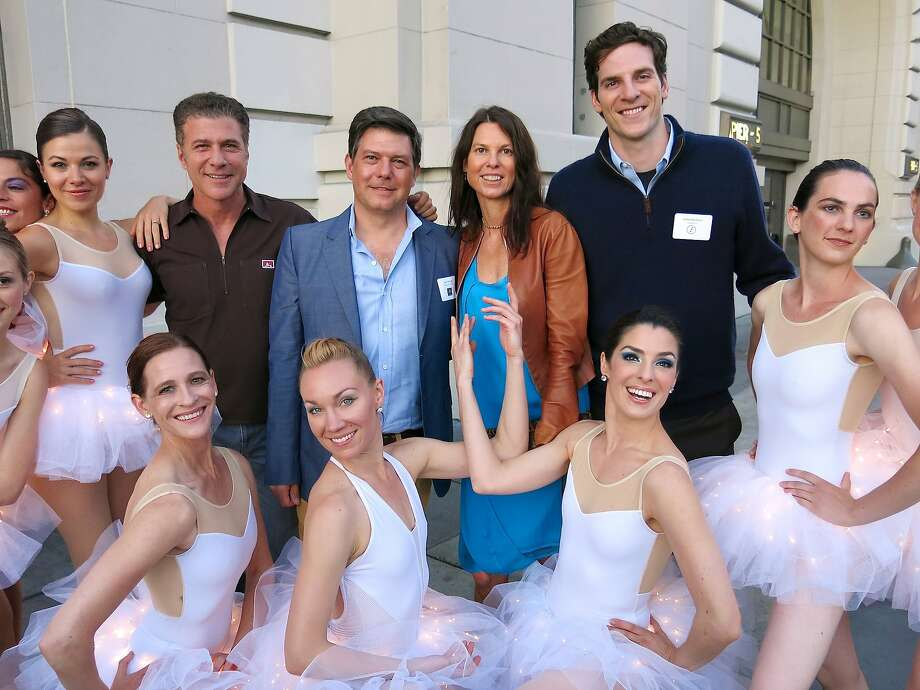 Menlowe Ballet dancers surround chef Michael Chiarello (left), artist Leo Villareal, Arts Commissioner Dorka Keehn and Crowdtilt CEO James Beshara. Photo: Catherine Bigelow, Special To The Chronicle
