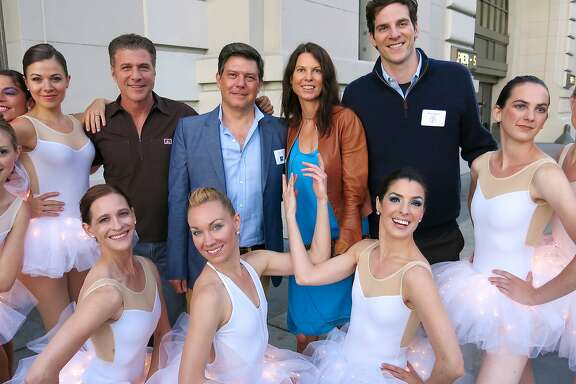 Menlowe Ballet dancers surround chef Michael Chiarello (left) artist Leo Villareal, SF Arts Commissioner Dorka Keehn and Crowdtilt CEO James Beshara at Coqueta Restaurant during the Bay Lights fundraiser. June 2014. By Catherine Bigelow. Menlowe Ballet dancers surround chef Michael Chiarello (left) artist Leo Villareal, SF Arts Commissioner Dorka Keehn and Crowdtilt CEO James Beshara at Coqueta Restaurant during the Bay Lights fundraiser. June 2014. By Catherine Bigelow.