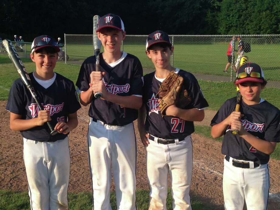Members of the Westport Little League team after a 5-1 win over Stratford on Monday. From left: Blake Lawrence, Fraser Lyons, Adam Petro, Chris Venerusso. Lyons socked a 2-run home run in the win. Photo: Ryan Lacey/Staff Photo / Westport News Contributed