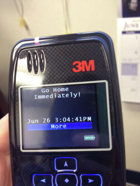 Marsha McLane is testing out a new GPS monitoring system on herself. She received this text after going to a prohibited area.