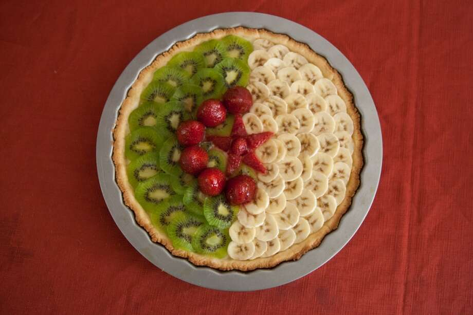 The prize was this beautiful tart cake made by Souad Medjoubi that looked like the Algeria flag.  It was made of kiwi, banana and strawberry. However because of Ramadan, it could not be enjoyed until sundown. Photo: Douglas Zimmerman, Courtesy