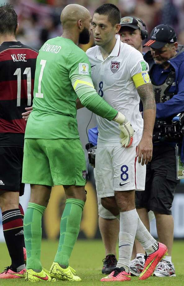 "This could be the last World Cup for United States goalkeeper Tim Howard (left), 35, and captain Clint Dempsey, 31. ""We have to make the most of it,"" said Dempsey, a Nacogdoches native. Photo: Matthias Schrader, Associated Press / AP"
