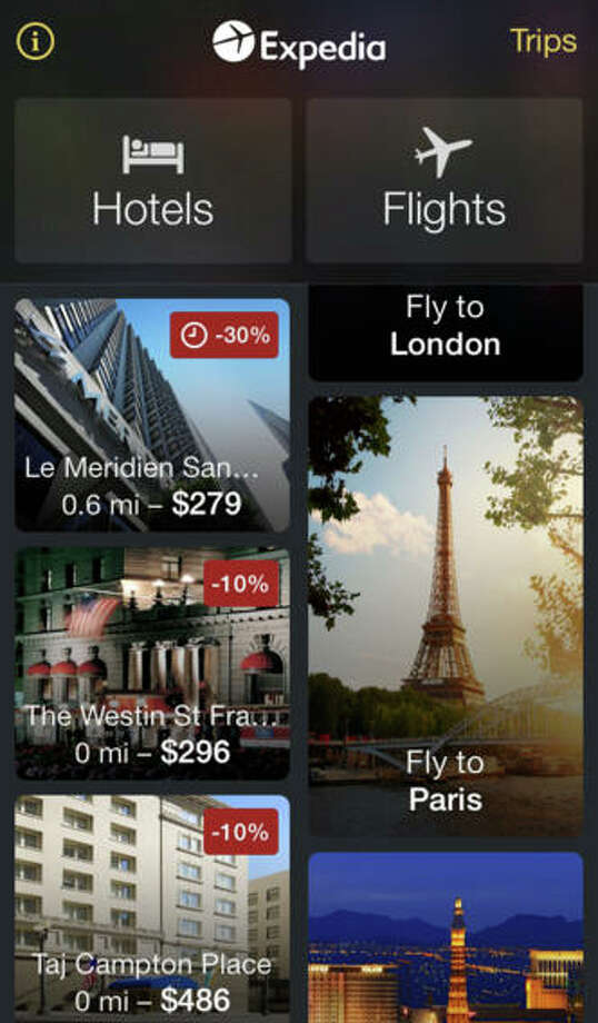 Expedia Hotels & Flights(Available for iPhone, iPad, iPod Touch, Android, and desktop)Expedia Hotels & Flights provides exactly what its name suggests: a tool for booking hotels and flights. Users can search, sort, and book flights, receive savings on hotel rooms, and organize their travel itinerary. Photo: Expedia, Inc.
