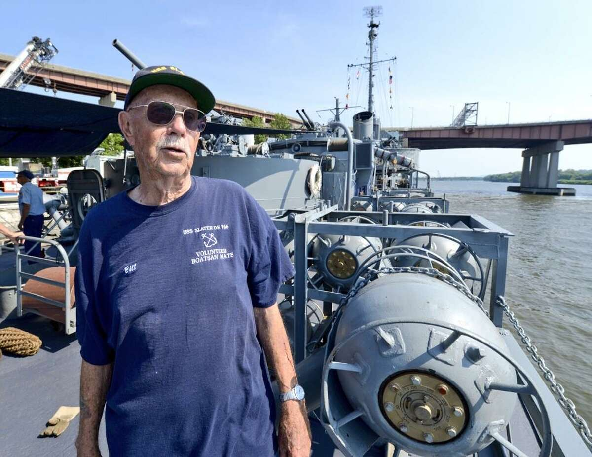 """William """"Boats"""" Haggard aboard the USS Slater after a 24-hour trip from repairs on Staten Island. (Skip Dickstein/Times Union)"""