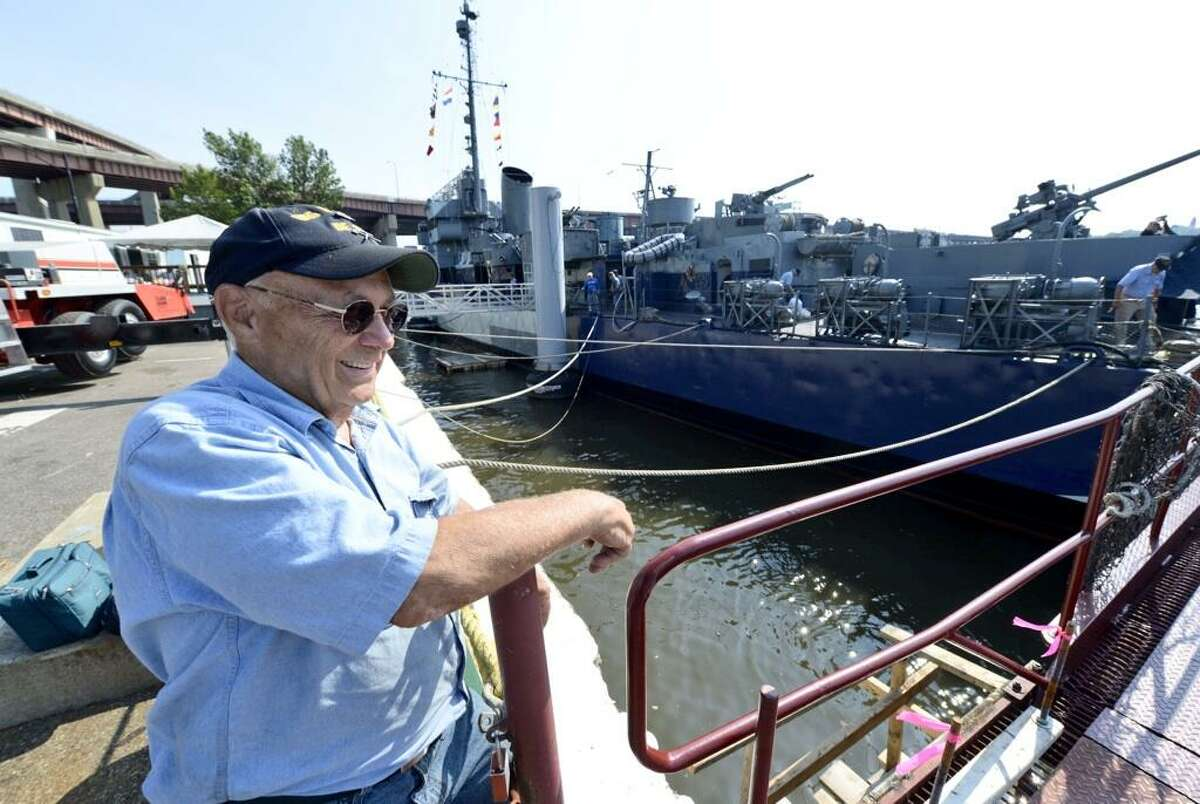 US Navy (Ret) Dave Mardon made the trip up the Hudson River aboard the USS Slater from Staten Island. (Skip Dickstein/Times Union)