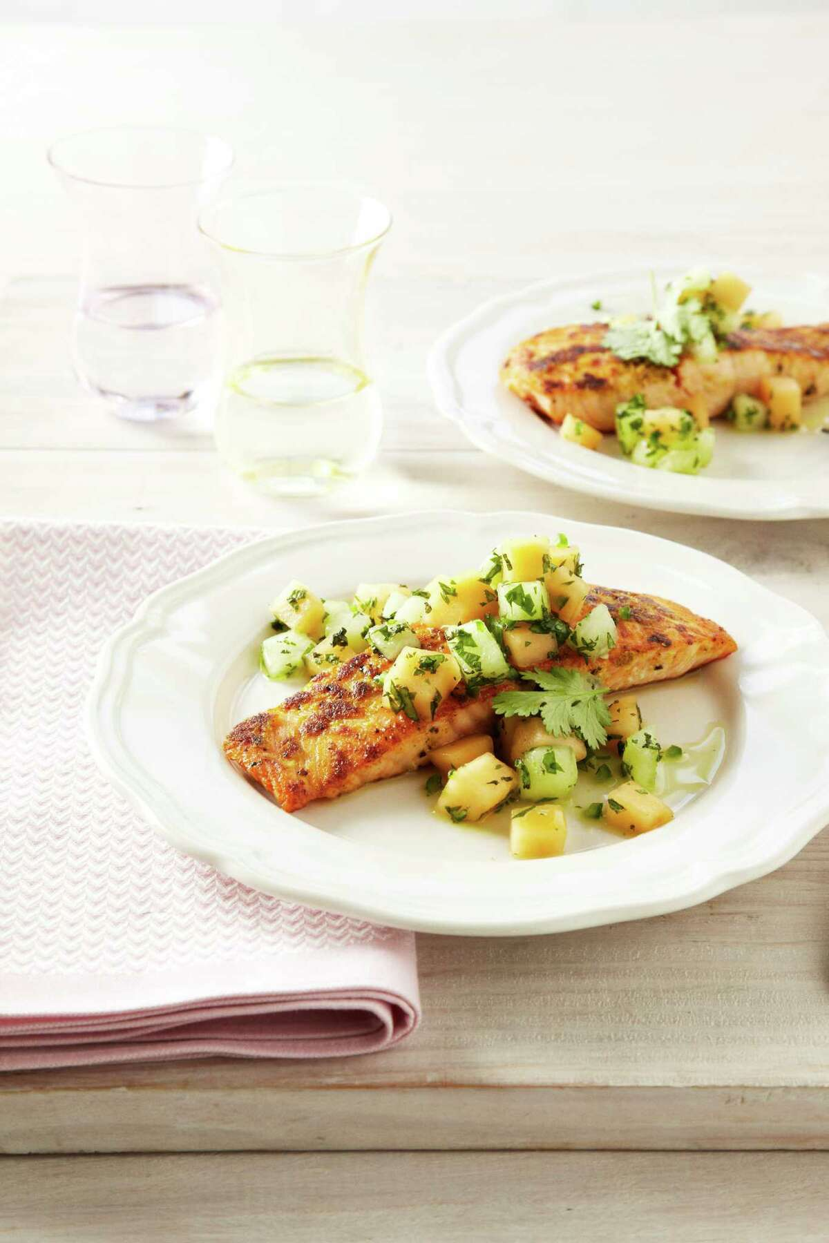 Good Housekeeping recipe for Ginger-Crusted Salmon with Melon Salsa.