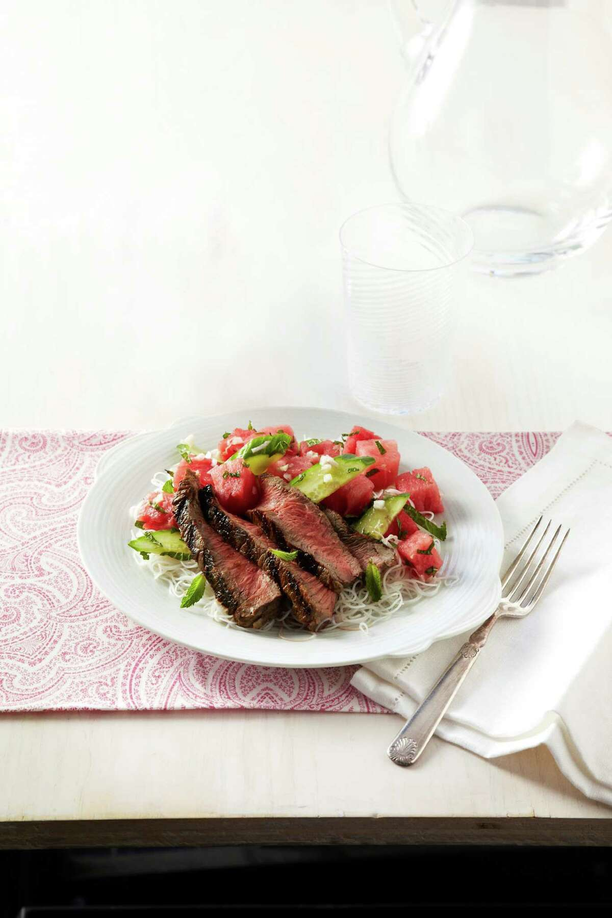 Good Housekeeping recipe for Seared Steak with Minted Watermelon.