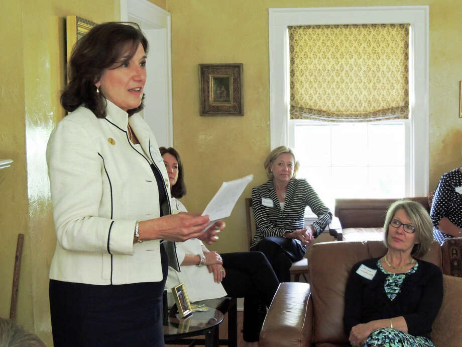 Mary Barneby, CEO of the Girls Scouts of CT, speaks at a womenís group luncheon hosted by Liberation Programs. Photo: Contributed Photo, Contributed / Darien News Contributed