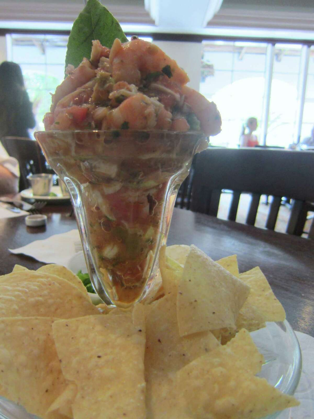 The Campechana De Mariscos at Goode Company Seafood. OK, the star of the show is the citrus-marinated shrimp and crab in this rich seafood salad, but the tortilla chips offer the texture that keeps it from being a one-note meal.