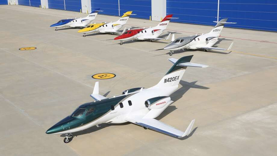 The first production HondaJet is in final assembly at Honda Aircraft Company's world headquarters in Greensboro, N.C. The aircraft is ready for ground tests and features a new paint scheme, a deep pearl green with a gold stripe. Photo: Honda, Wieck